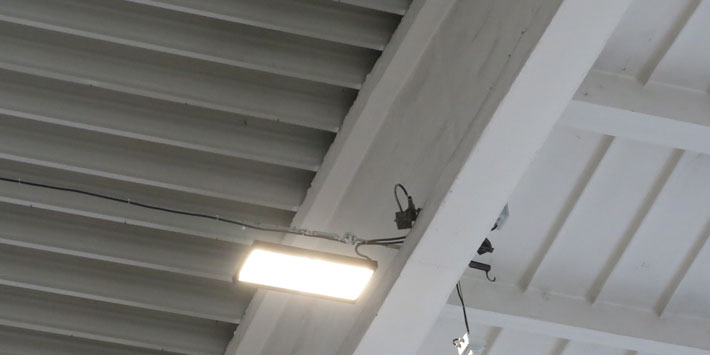 DALI LED industrial lighting controlled by sensor of daylight and movement